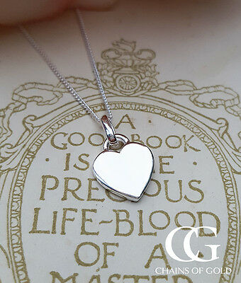 Personalised Small Sterling Silver Heart Tag Necklace ENGRAVE LADIES CHILDREN