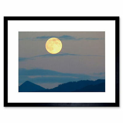 Photo Painting Full Moon Over HillsFramed Art Print 12x16 Inch