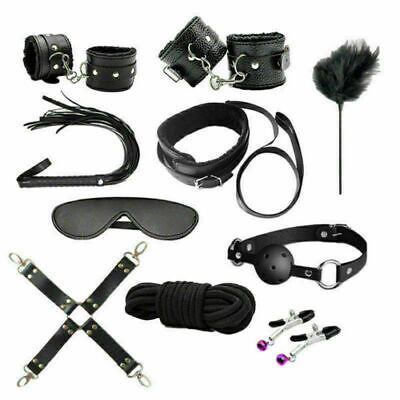 10PCS BDSM Toy Under Bed Bondage Set Collar Whip Cuffs Rope Restraint System Kit