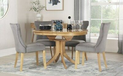 Hudson & Bewley Round Extending Oak Dining Table & 4 6 Chairs Set Grey Velvet
