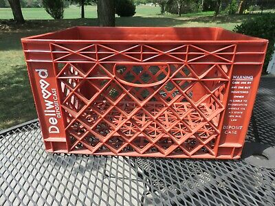 """Vintage Large Dellwood Red Plastic Milk Crate 19"""" X 13"""" X11"""" LOOK"""