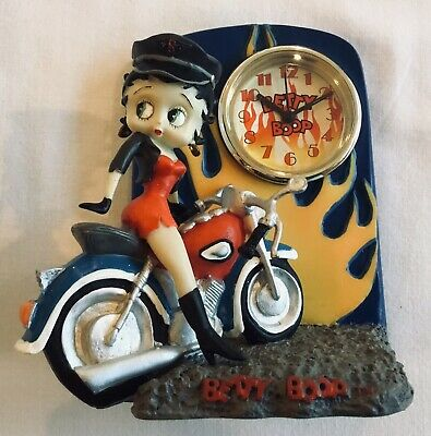 BETTY BOOP RARE Mint! Desk/Table Clock Motorcycle Centric Biker Red Dress 2002