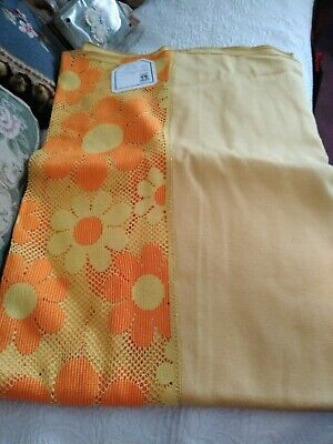 New Vintage Quaker Lace Orange Gold Solid Lace Edge Tablecloth 62X82 Nwt Fall