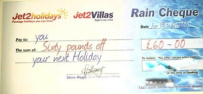 1 X NEW Jet2 Holidays £60Rain Cheque voucher valid untill Oct 2020 EXP DEC 2019