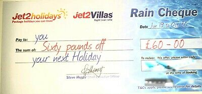 2 X NEW Jet2 Holidays £60Rain Cheque voucher valid untill Oct 2020 EXP DEC 2019