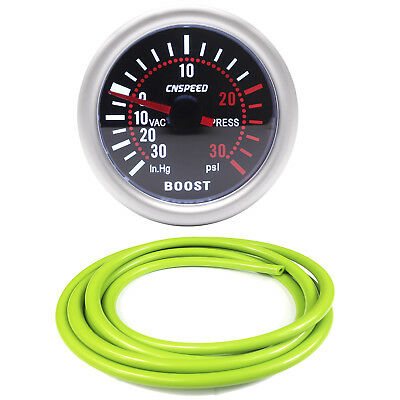 52mm CN-1 Smoked Turbo Boost Gauge -30 to 30 Psi With Green Silicone Hose