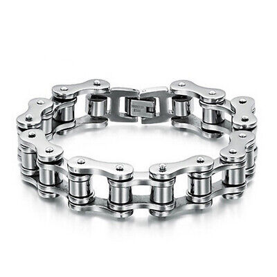 Punk Cool Stainless Steel Chain Link Men's Bracelet Wristband Cuff Bangle Beamy