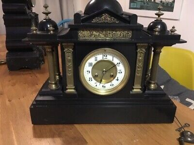 French Slate Mantle Clock A fine 1900s Black marble/ Brass Antique Roman style