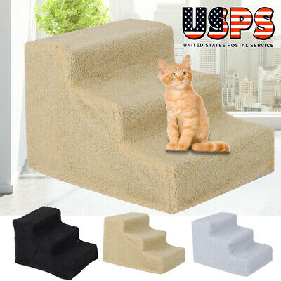 3 Steps Pet Stairs Soft Portable Cat Dog Step Ramp Small Climb Ladder w/ Cover