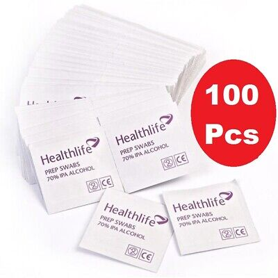 NHS Grade 70% IPA Isopropyl Alcohol Wipes/ Swabs for Tattoo Piercing Nails -100x
