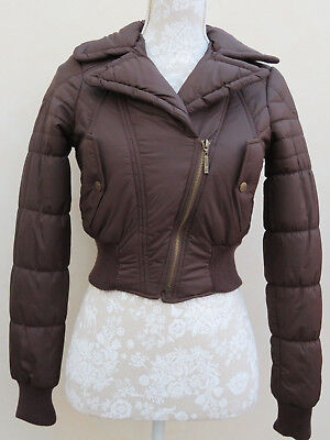 LIPSY London BROWN ❤ BOMBER Zipped PADDED Cropped COAT JACKET ❤ 6 8 34-36 BNWOT
