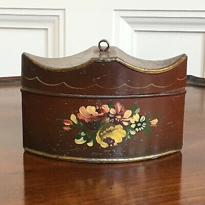 An Antique Georgian Shaped Tin Toleware Painted Tea Caddy, Possibly American.