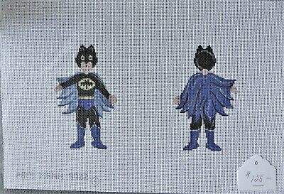 "Handpainted Needlepoint Canvas by Patti Mann ""Batman"""