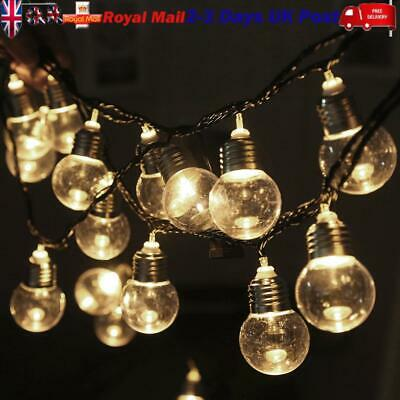 6M Plug In Outdoor Indoor Wedding Party Festoon Globe Fairy String 20 Led Lights