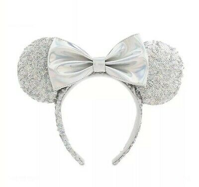 Disney Parks Minnie Mouse Sequin Bow Ears Magic Mirror Metallic Headband NEW
