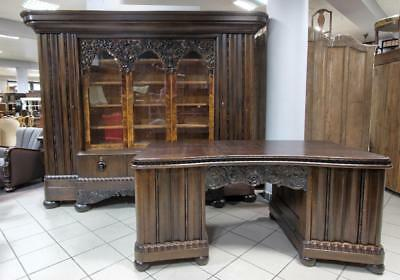 Massive Carved Bookcase With Desk 6778