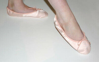 PINK SATIN BALLET SHOES with FULL SUEDE SOLE .