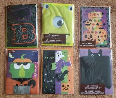 PAPYRUS Greeting Cards HALLOWEEN Lot of 6 FALL PUMPKIN SPOOKY GHOSTS GLITTER