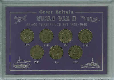 The WWII Years Threepences 3d 1939-45 World War II Britain at War Coin Gift Set