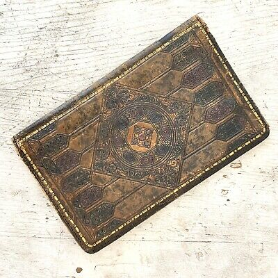 Vintage Antique Embossed Tooled Leather Bible Book Cover Wear Flaws