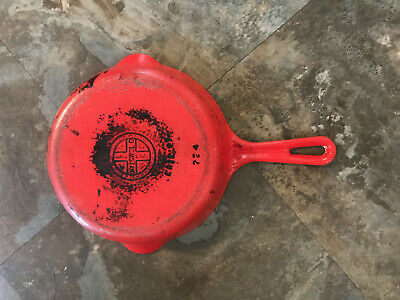 GRISWOLD Cast iron pan 724 #5 Porcelain Orange Rare Vintage Erie PA Skillet pan