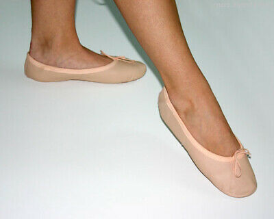 PINK LEATHER BALLET SHOES with SPLIT SUEDE SOLE .