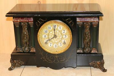 Impressive Antique Sessions Nouveau 8 Day Mantle Clock ~ Running Condition ~