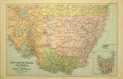1909 Antique Map New South Wales Victoria South Australia Tasmania Sydney