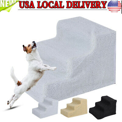 NEW Pet Stairs 3 Step Dog Ladder Indoor Cat Ramp Steps Stair White/Beige/Black