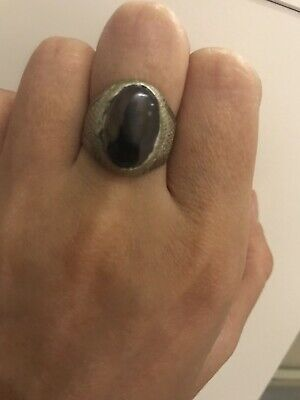 Yemeni Ring Made Of Old Silver And Brown Agate Stone
