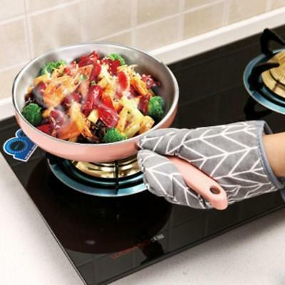 Kitchen Cooking Microwave Oven Gloves Mitts Pot Pad Heat Proof Protected Lin