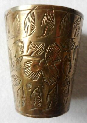 Indian Brass Etched Shot Glass