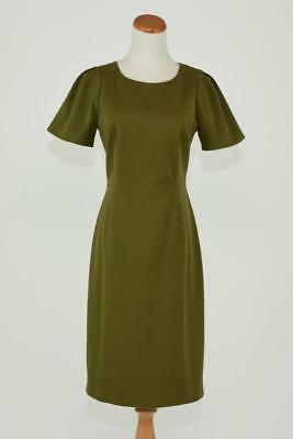 J.crew $185 Stretch Cotton Gathered Sleeve Sheath Dress 4 Olive Green Work G1180