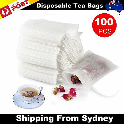 100X Disposable Tea Bags White Empty Drawstring Seal Filter Tea Bag for Leaf Tea