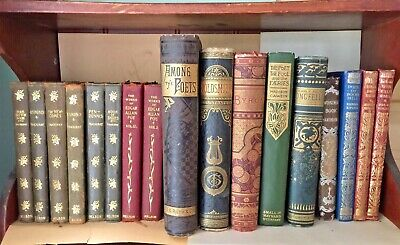 17 Victorian Decorative (Angels) & Antique Leather Lot Poetry Poe Byron Kipling