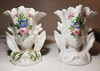 Antique Matching Set Of Small Hand-Painted Floral Design Porcelain Flower Vases