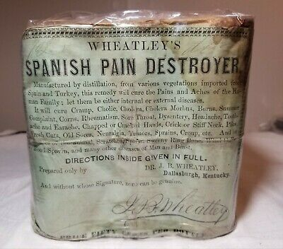 Very Rare Antique Uo 6 Pack Wheatley's Spanish Pain Destroyer Medicine Bottles