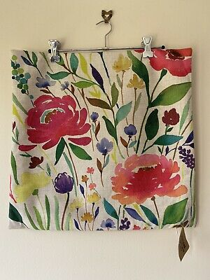 Linen and Cotton Handcrafted Cushion, Colourful Flowers Wildflowers