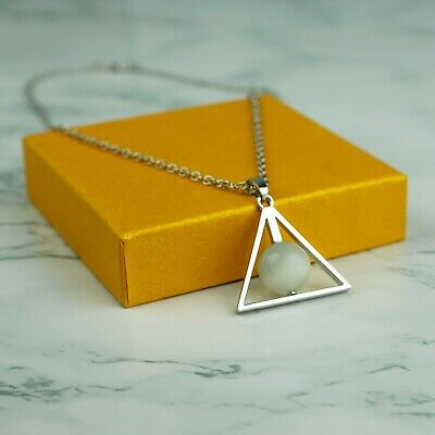 Movie Harry Potter Deathly Hallows Stone Silver Pendant Necklace with Gift Bag