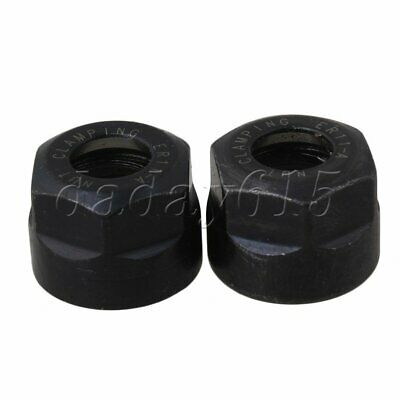 Steel ER11 A type 11.3mm Clamping Nut 19mm Dia w/ Black Oxide Finish Pack of 2