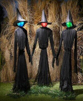 Set 3 Life Size Lighted Witches Color Changing Witch HALLOWEEN Prop Decoration