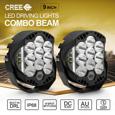 2x 9 inch CREE LED Driving Lights Offroad 4X4 SUV 12V 24V Round Spotlights