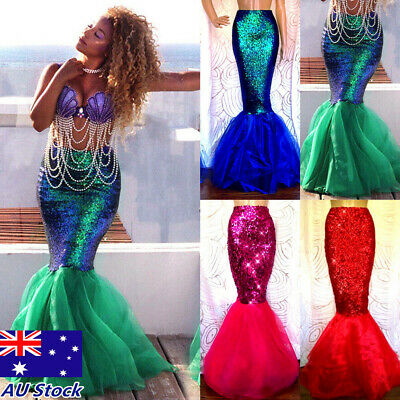 Womens Adult Mermaid Tail Full Skirt Party Maxi Fancy Dress Cosplay Costume AU