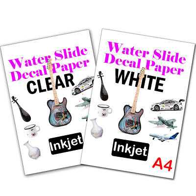 Clear Water Slide Decal Paper A4 LASER Waterslide Transfer Paper –5 Sheets
