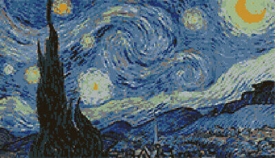"""Starry Night by Van Gogh latch hook rug pattern for 63"""" x 36"""" Rug Kit (Not Inc.)"""