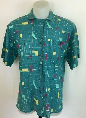 Vintage 80s Rodier Paris Button Up Short Sleeve Cotton/Linen Shirt Size 40