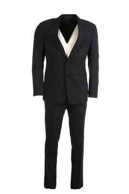 BRUNO SAINT HILAIRE Suit Navy Stripe Wool Blend Size 48 / 38R RRP £380 BW 574a