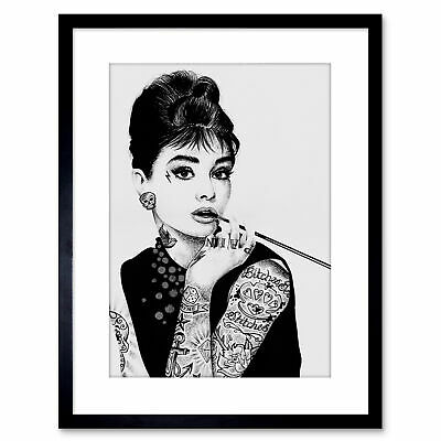 Audrey Hepburn Tattoo Inked Ikons Framed Art Print By W.Maguire 9x7 Inch
