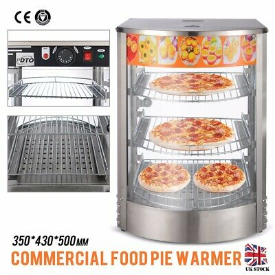 Commercial Pie Warmer Counter Top Heated Curved Glass Hot Food Display UK Stock