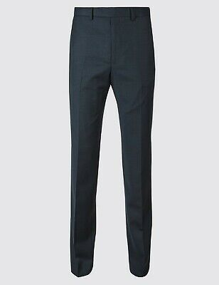 Mens Ex M&S COLLECTION LUXURY Regular & Tailored Fit 100%Wool Trousers Navy BA50